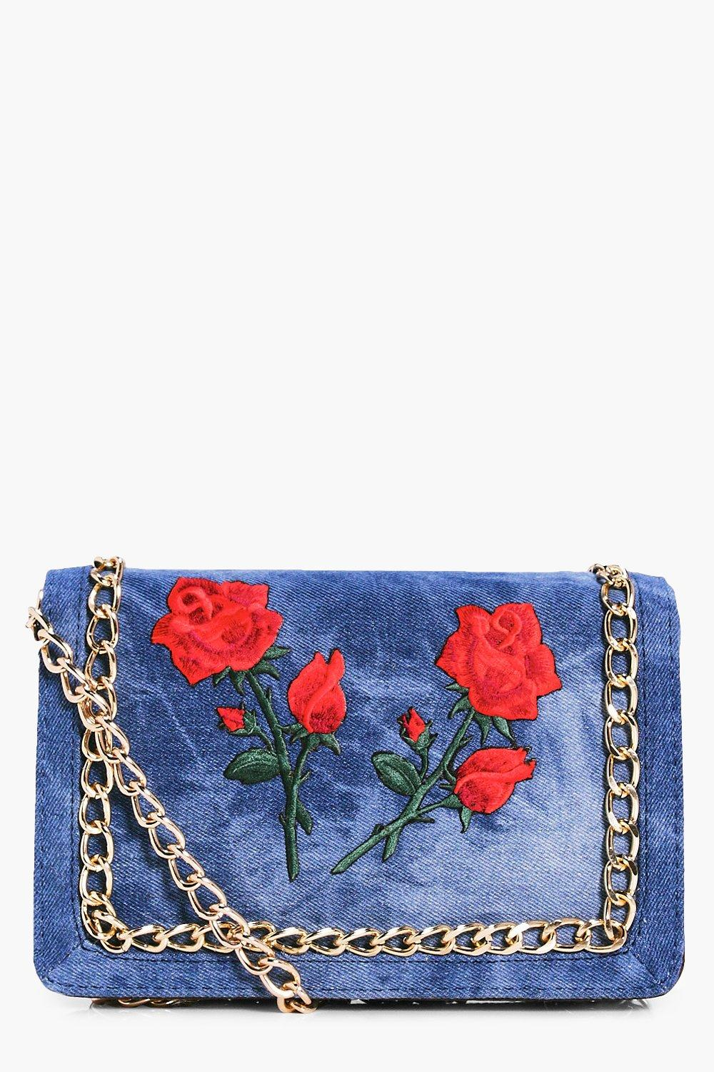 Floral Patch Denim Cross Body Bag - denim - Bella