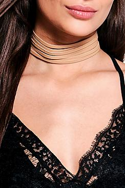 Amy Faux Suede Ribbon Detail Wide Choker