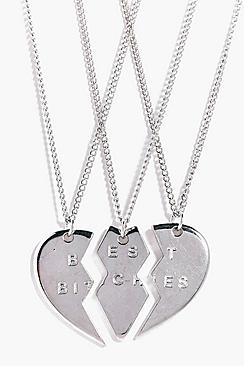 Paige 3 Piece Bestie Friendship Necklace