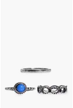 Ivy Mixed Design Blue Stone Stack 3 Ring Pack