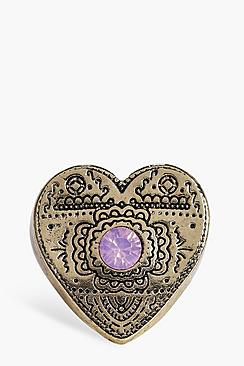 Katie Engraved Stone Set Heart Ring