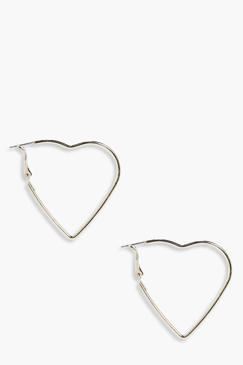 Gold Heart Hoop Earrings  gold