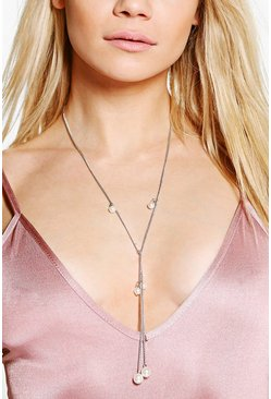 Betsy Pearl Plunge Skinny Necklace