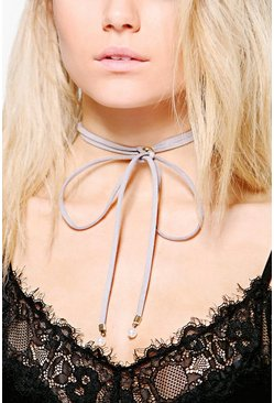 Anya Faux Pearl Tip Tie Up Cord Choker