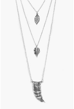 Eve Leaf And Horn Pendant Layered Necklace