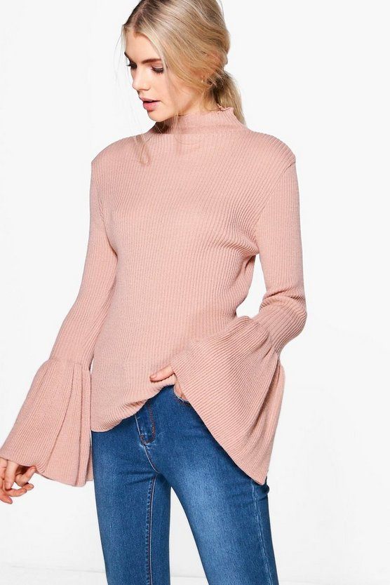 Isabella Funnel Neck Wide Sleeve Jumper
