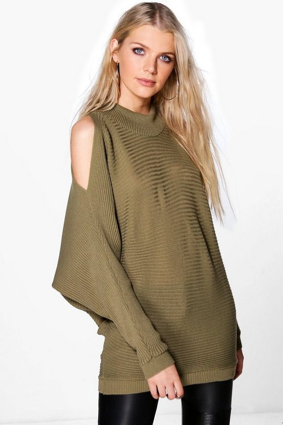 Bella Cold Shoulder Rib Knit Oversized Jumper
