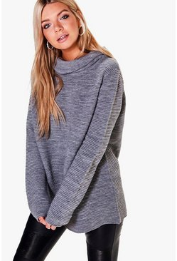 Lacey Rib Knit Roll Neck Jumper
