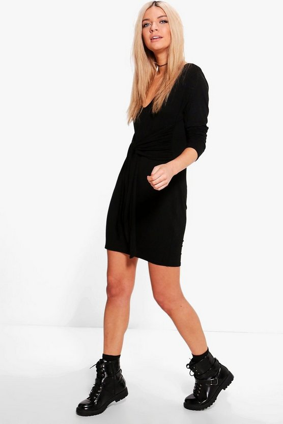 Willa Tie Waist Long Sleeve Shift Dress