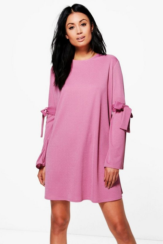 Xenia Tie Detail Flute Sleeve Swing Dress