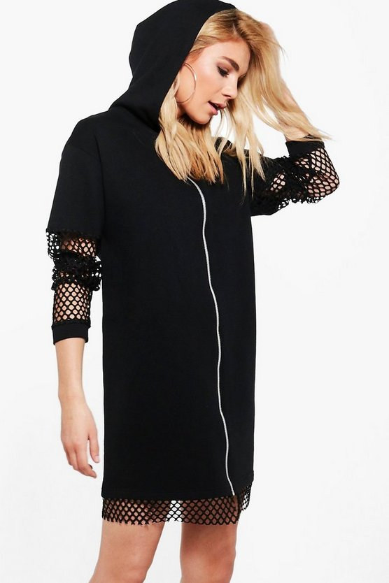 Agneta Mesh Detail Hooded Sweat Dress