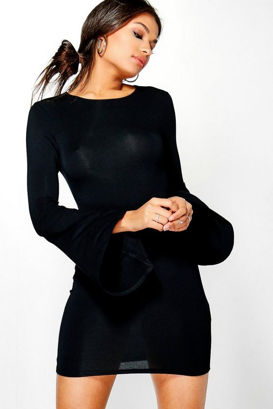 Daphne Waterfall Sleeve Bodycon Dress