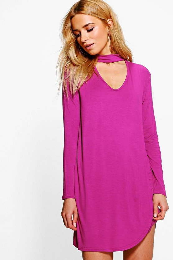Eliana Choker Wrap Shift Dress