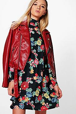 Elisha Printed High Neck Swing Dress