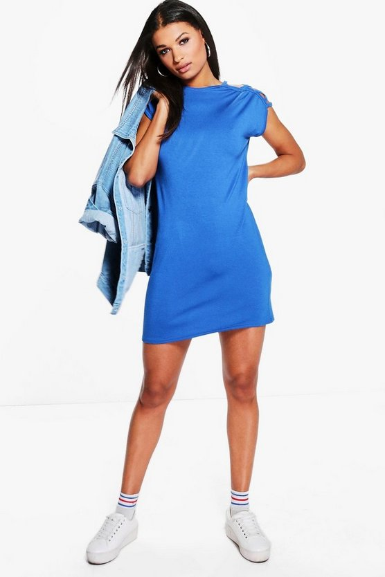 Elvira Cut Out Shoulder Shift Dress