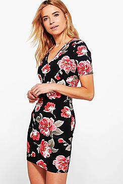 Fallon Floral V-Neck Bodycon Dress