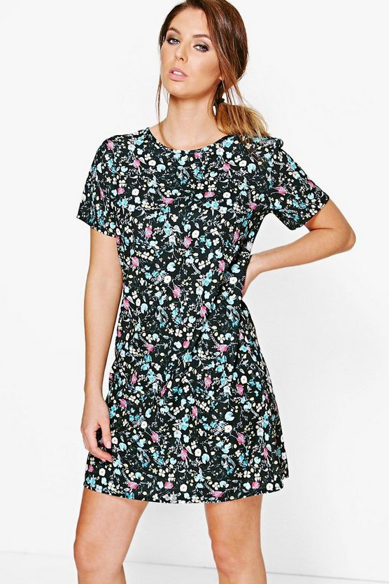 Aiyana Floral Printed Woven Shift Dress