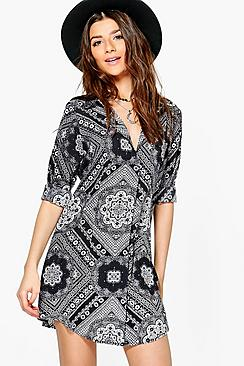 Alainia Monochrome Paisley Shirt Dress