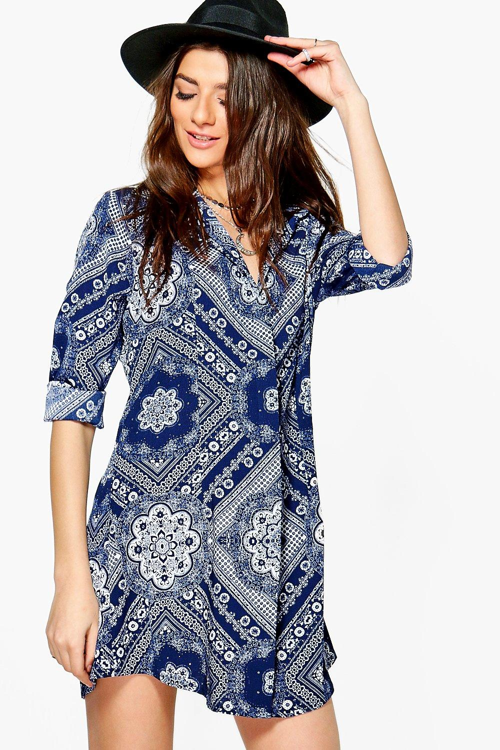 boohoo alainia robe chemise motif cachemire monochrome pour femme ebay. Black Bedroom Furniture Sets. Home Design Ideas