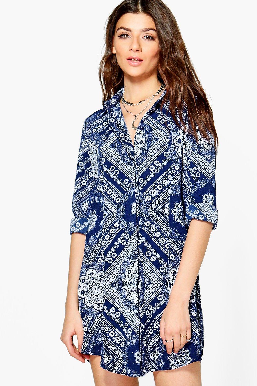 boohoo alainia robe chemise motif cachemire monochrome pour femme ebay. Black Bedroom Furniture Sets. Home Design Ideas