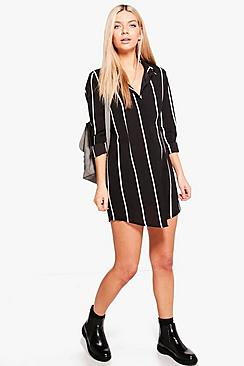 Chiara Wide Stripe Shirt Dress