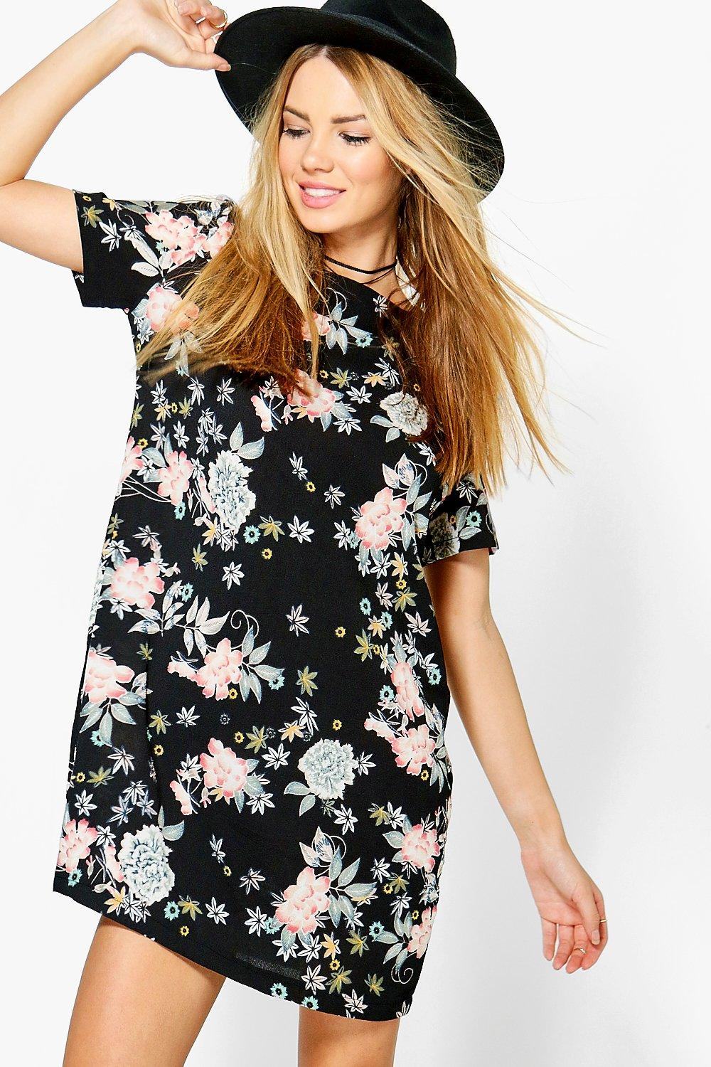 Jeanie Floral Woven Cap Sleeve Shift Dress