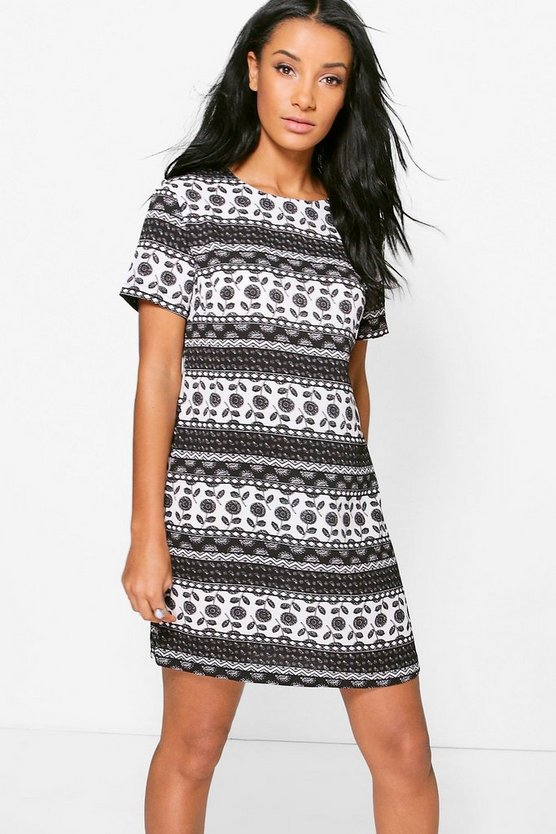 Harlow Monochrome Printed Shift Dress