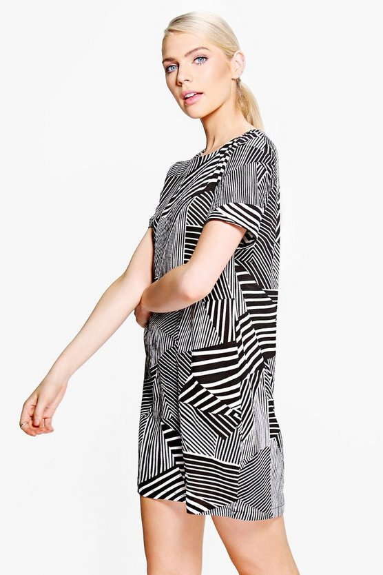 Hermia Monochrome Stripe Shift Dress