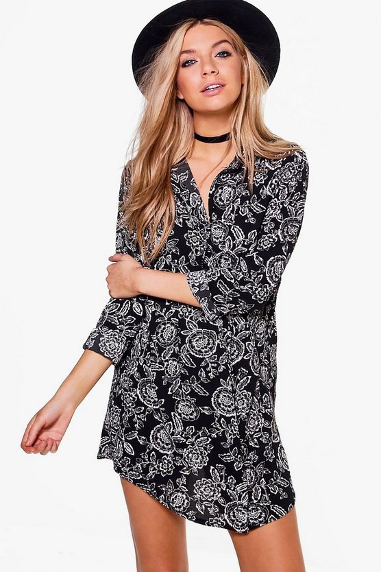 Kassie Monochrome Floral Shirt Dress