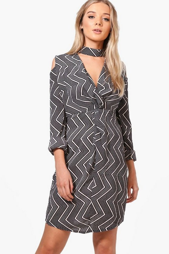 Isolde Choker Wrap Shirt Dress