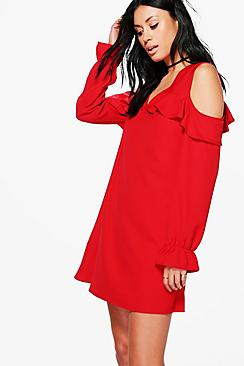 Tanya Cold Shoulder V Neck Shift Dress