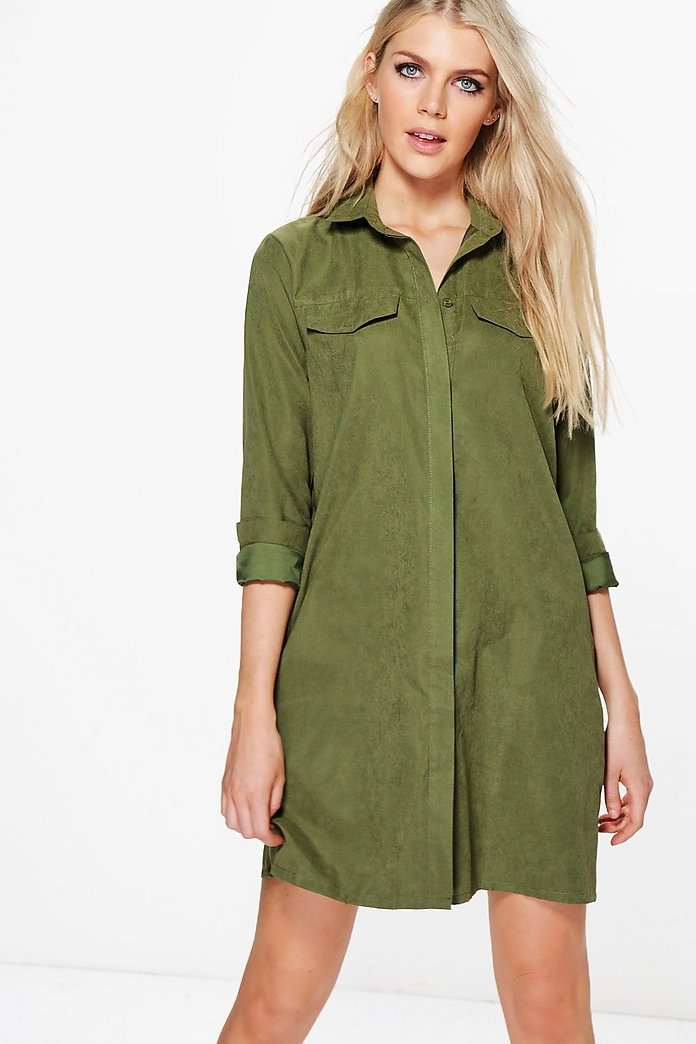 greta long sleeve midi shirt dress boohoo