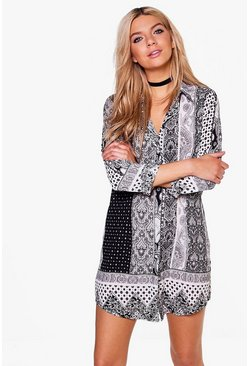 Astley Monochrome Paisley Shirt Dress