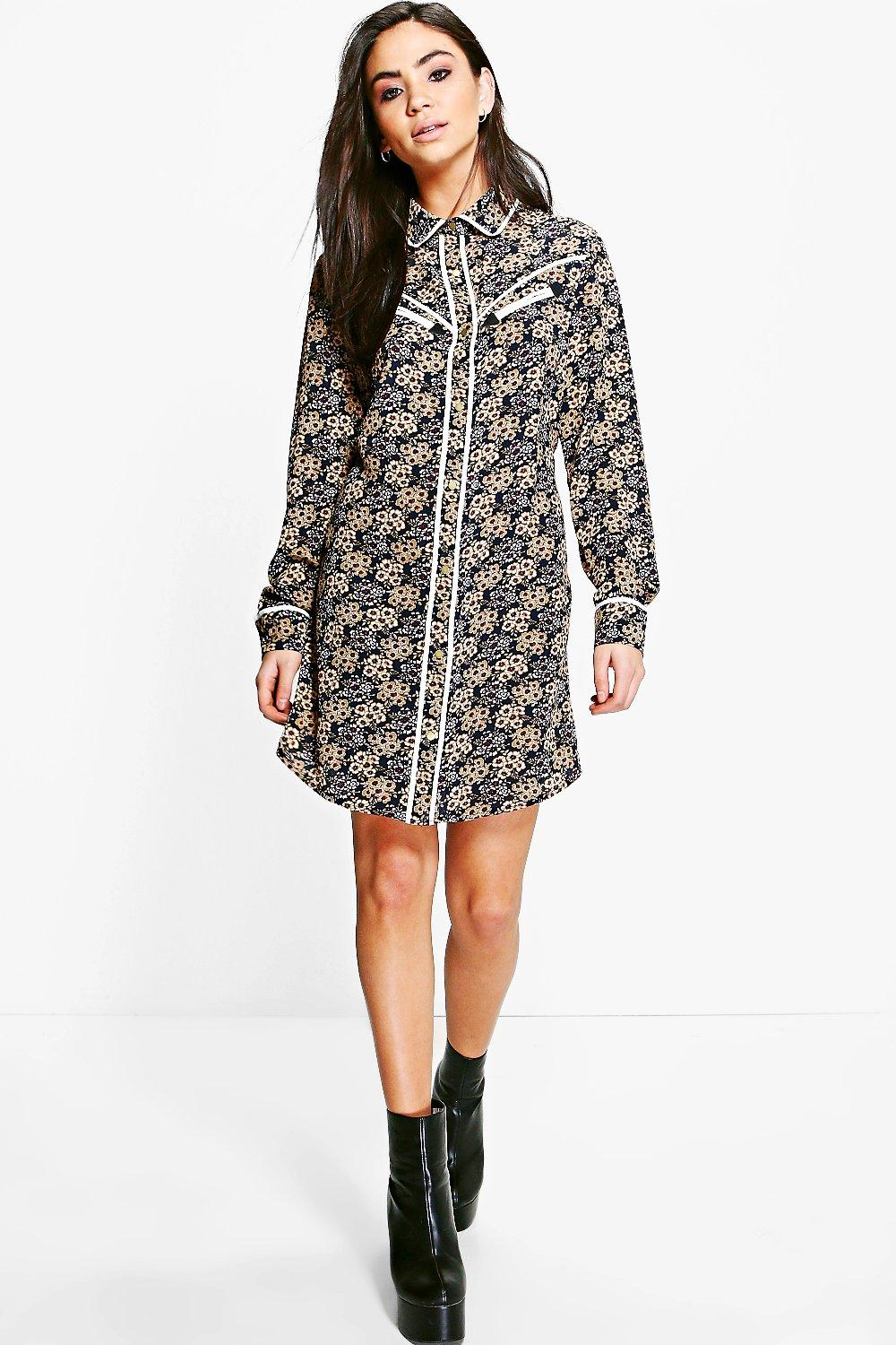 Ann Ditsy Floral Contrast Piping Shirt Dress