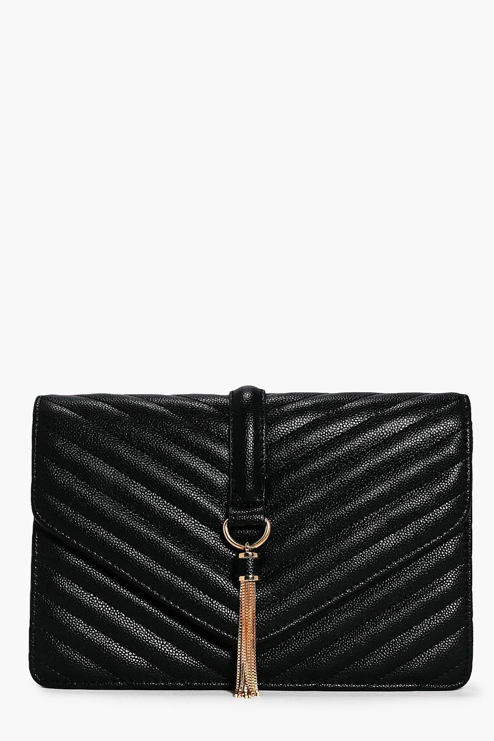 Quilted Tassel Trim Cross Body Bag - black - Rose