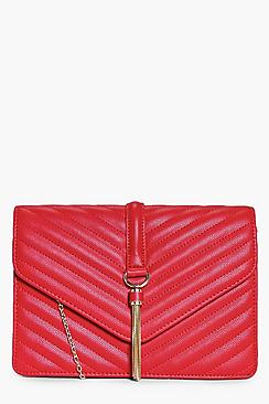 Rose Quilted Tassel Trim Cross Body Bag