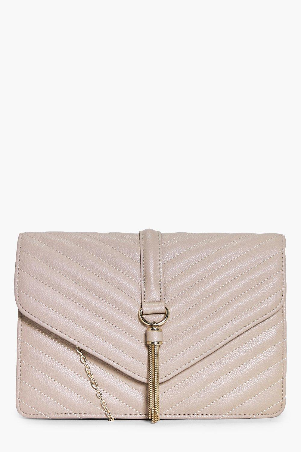Quilted Tassel Trim Cross Body Bag - taupe - Rose