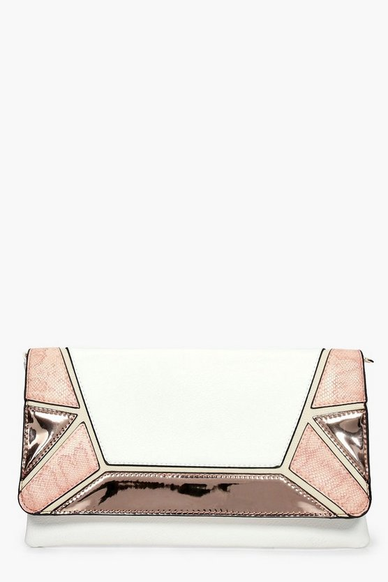 Tia Colour Block Metallic Clutch Bag