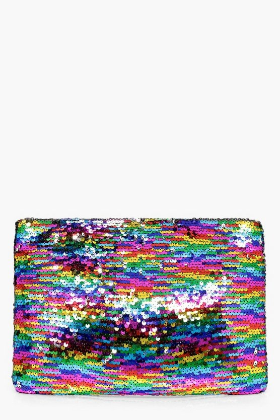 Violet Mermaid Sequin Zip Top Clutch Bag