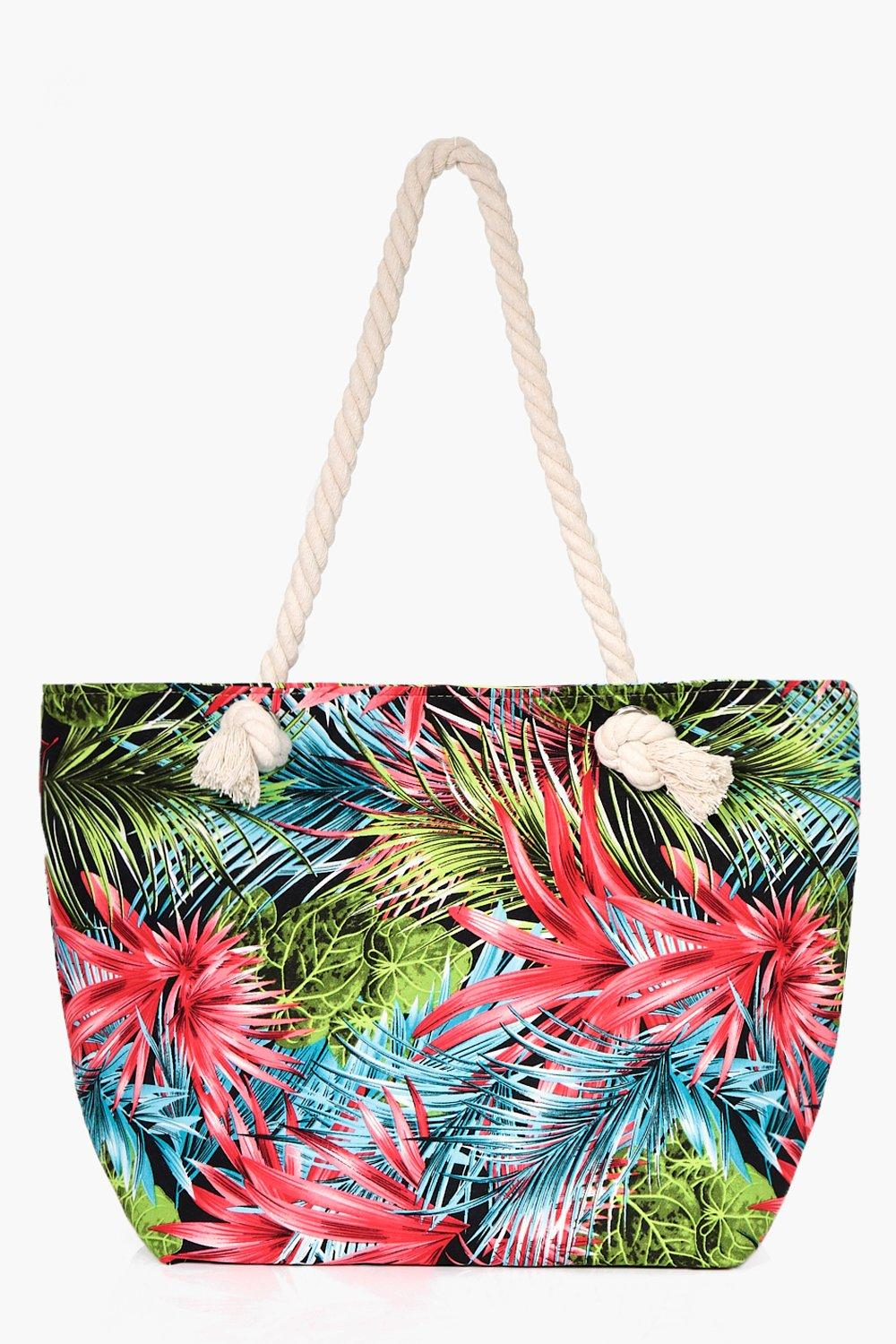 Palm Print Beach Bag - pink - Lydia Palm Print Bea