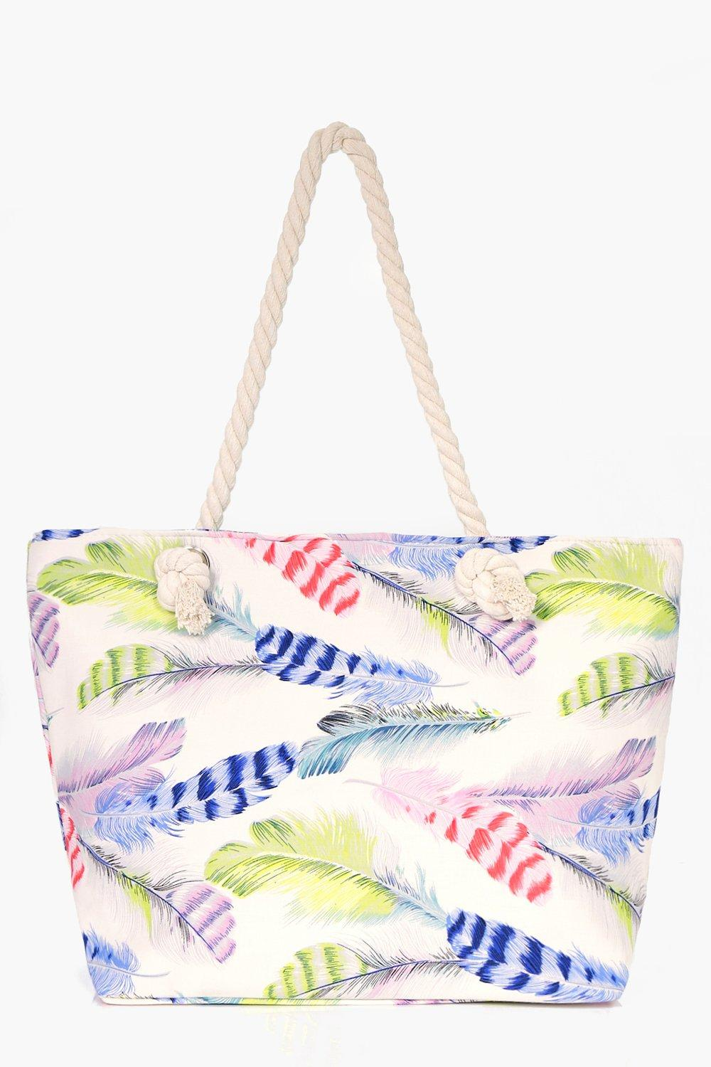 Feather Print Beach Bag - blue - Alexis Feather Pr