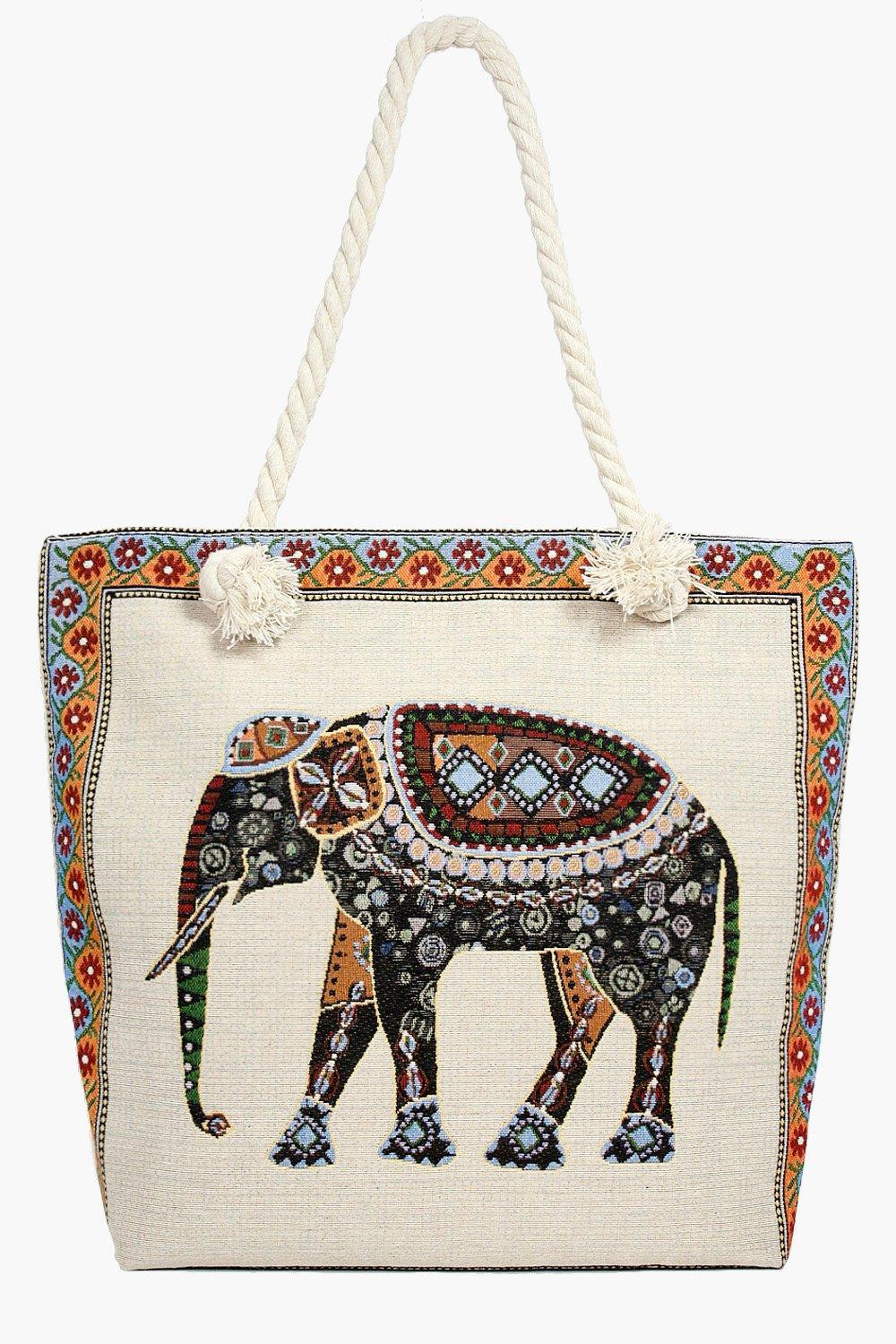 Elephant Print Beach Bag - multi - Maisy Elephant