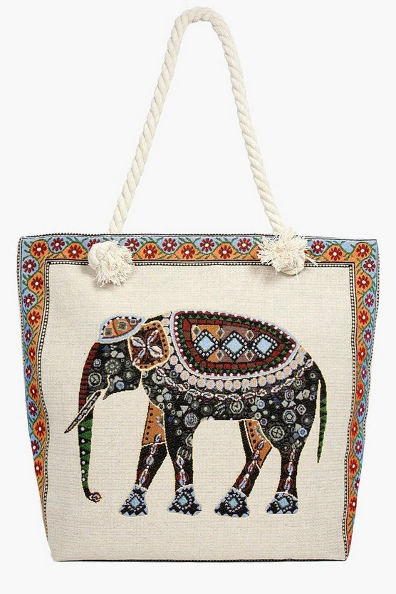 Maisy Elephant Print Beach Bag | Boohoo