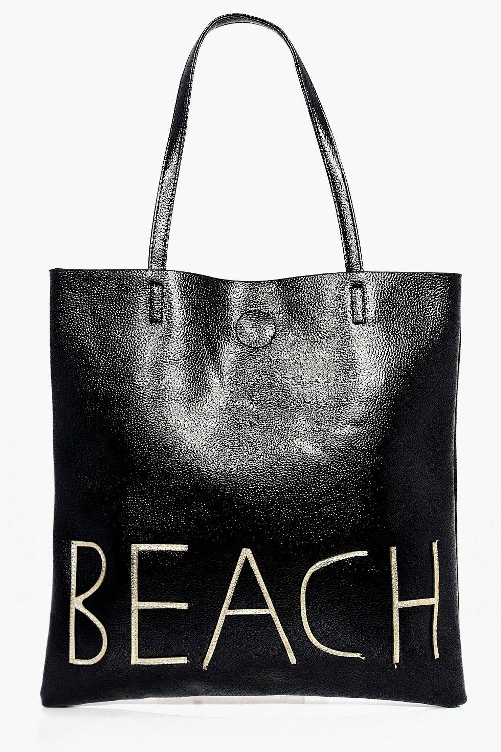 Metallic Beach Shopper Bag - black - Lillie Metall