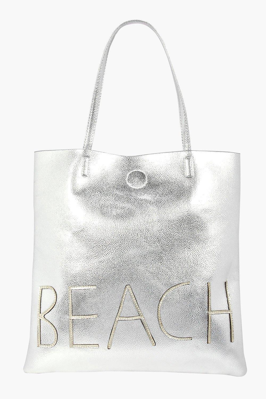Metallic Beach Shopper Bag - silver - Lillie Metal