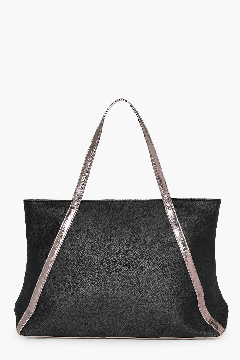 Metallic Faux Leather Weekend Holdall - black - Is