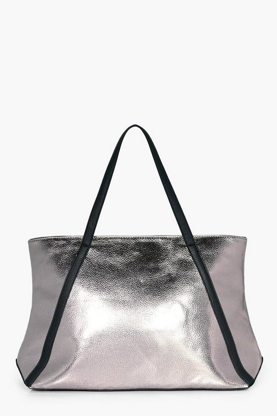 Isobel Metallic Faux Leather Weekend Holdall