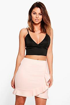 Fallen Ruffle Front Mini Skirt
