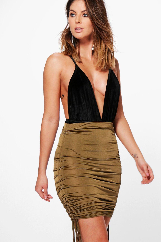 Rouched Side Slinky Mini Skirt  khaki