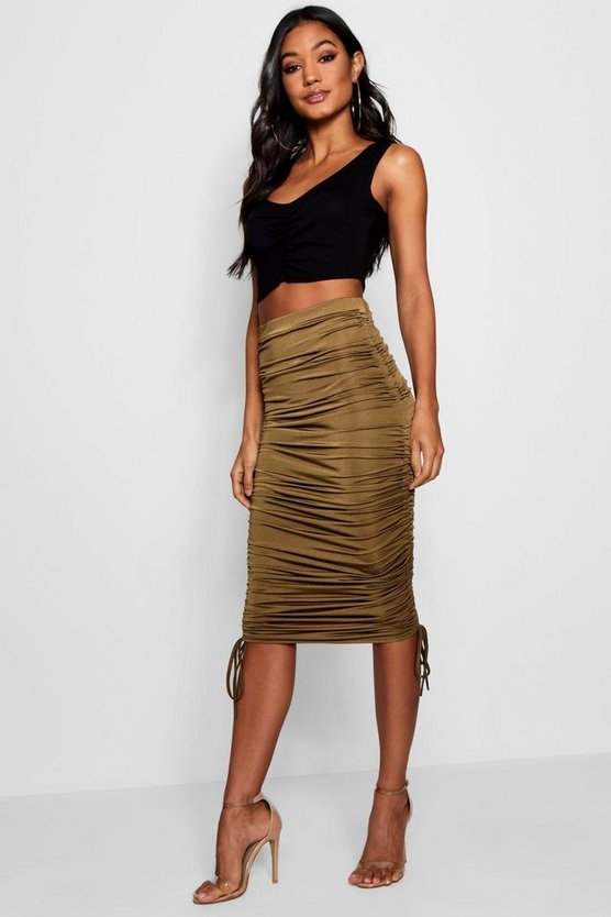 Mia Rouched Side Slinky Midi Skirt